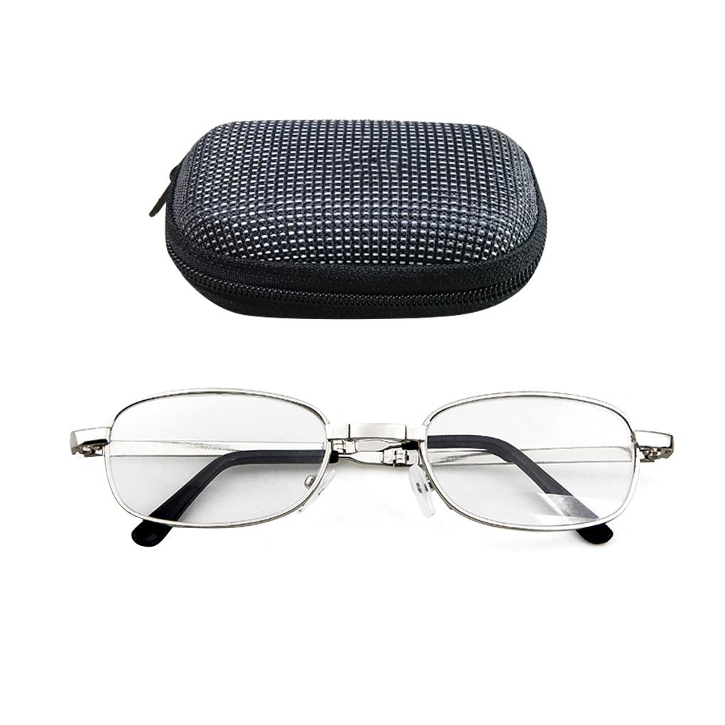 Portable Folding Reading Glasses Oval Metal Frame Presbyopic Magnifying Glasses Eyewear with Case C18122501
