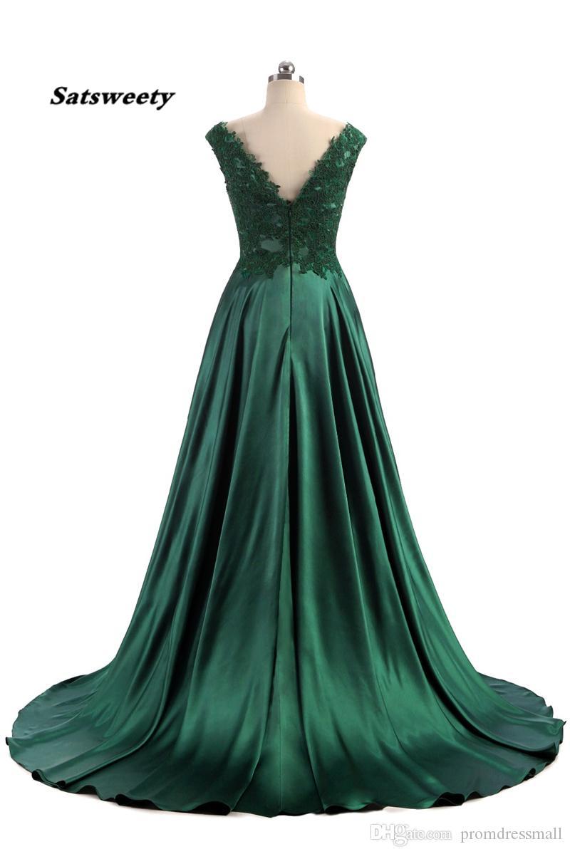 Robe De Soiree Elie Saab вечерние платья 2020 Длинные темно-зеленый Cap Sleeve Split Дизайн сатин Vestidos De Noite Para Casamento