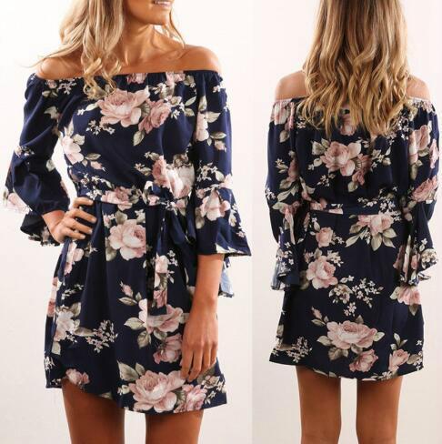 20SS design Hot vente robe de style européen Femmes en mousseline de soie Slash cou imprimé floral en vrac dentelle robe sexy gros
