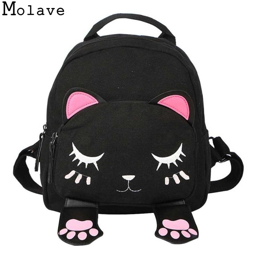 Molave Backpack Women Pu Leather Cute Cat Backpacks For Teenage Girls Funny Cats Ears Canvas Shoulder Bags Female Mochila 090415 Y19051701