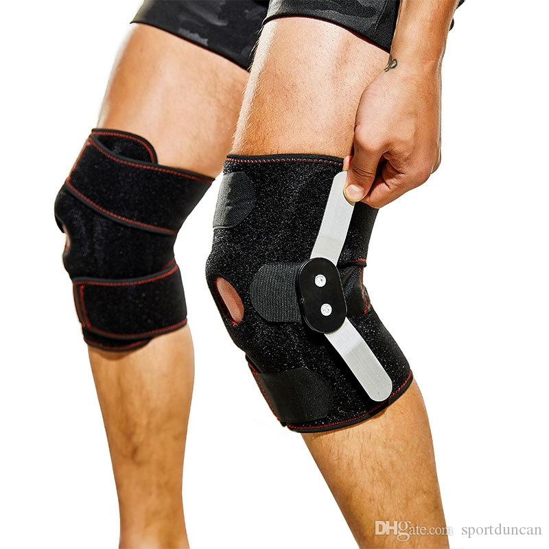 Ginocchio sportivo doppio ginocchiera in acciaio regolabile in una sola misura supporto per riabilitazione forte spedizione gratuita