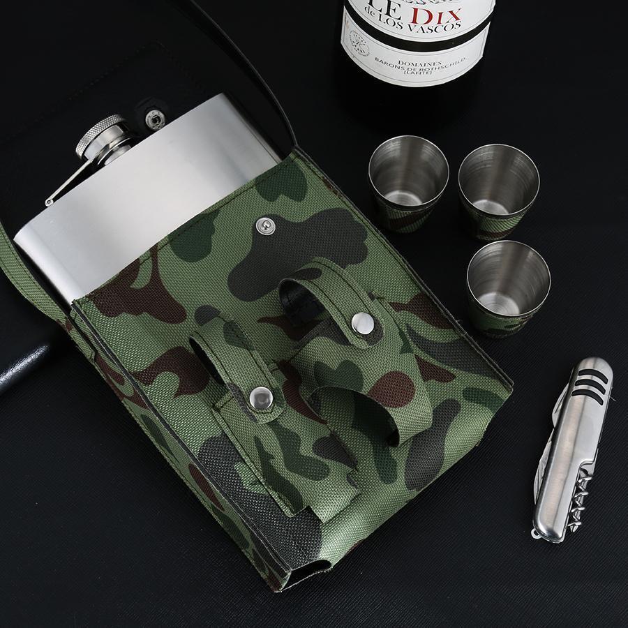 BIUBIUTUA cuir camouflage 18 oz Holster Boucle Flasque alcool en acier inoxydable avec 1 Flask couteau pliant 3 Coupes