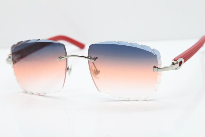 Free Shipping Rimless Glasses Red Aztec SunGlasses Hot Metal Mix Arms 3524012 SunGlasses Unisex Rimless Sunglasses with box Carved Lens