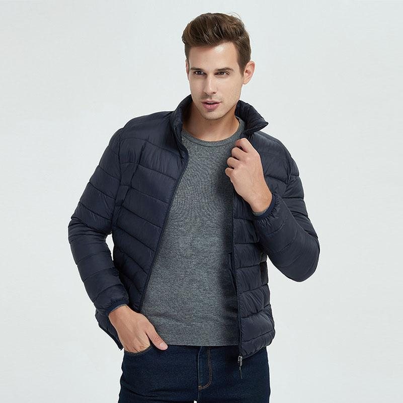QPFJQD Man Waterproof Jackets Parka Stand Collar Autumn Winter Warm Outwear Slim Mens Padded Coats Casual Windbreak Long Sleeve