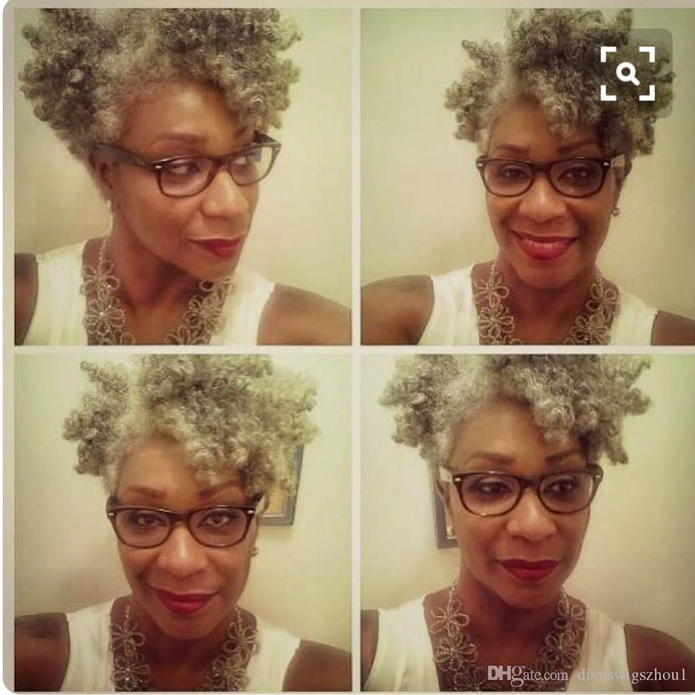 Gris tissage de cheveux clip postiche de queue de cheval afro crépus vierge humaine cheveux bouclés Inspo femmes queue wrap cheval gris cordon de serrage postiches