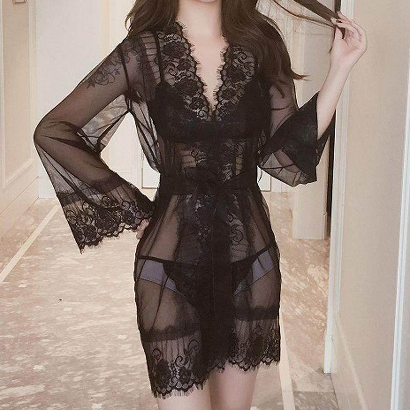 여성 섹시한 레이스 잠옷 가운 세트 패션 여성 투명 메쉬 bathropes 한 사이즈 블랙, 화이트 도매 3PCS 세트