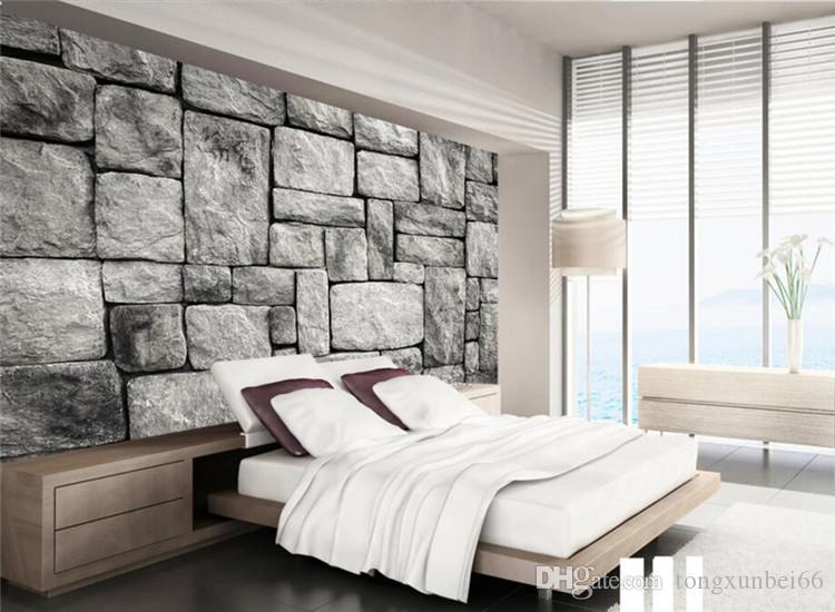 Großhandel Benutzerdefinierte Tapete Wohnzimmer Schlafzimmer Hintergrund 3d  Tapete Gray European Style Stein Backsteinmauer Hintergrundtapete Von ...