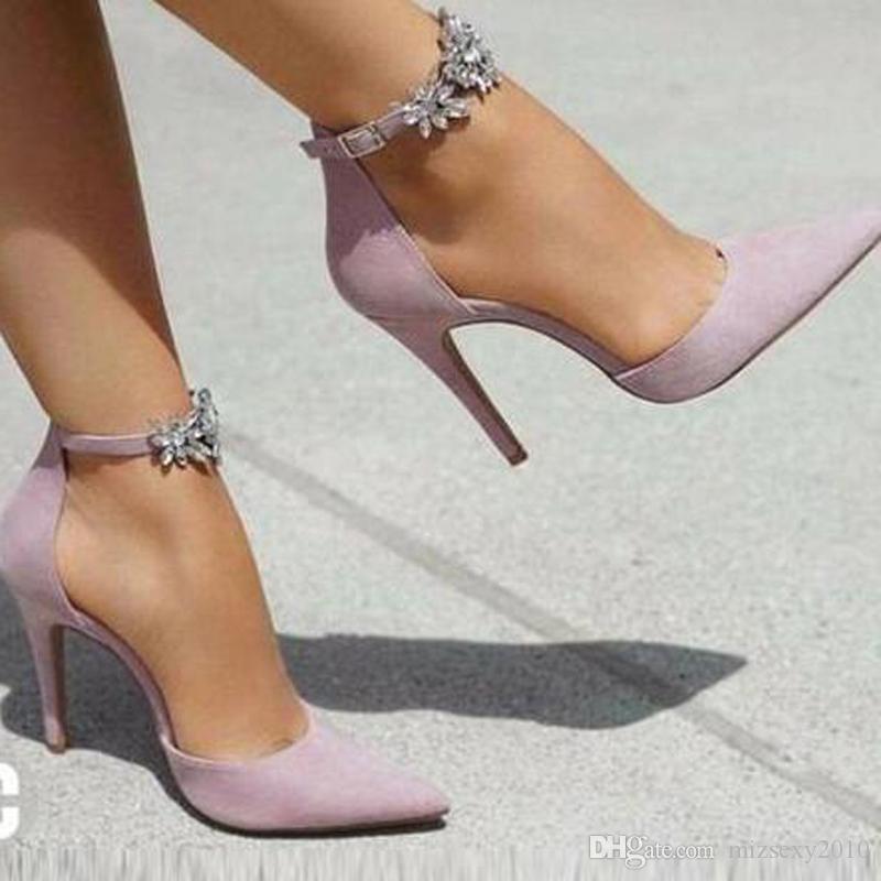 designer chaussures 2019 nouvelle mode chaussures strass violet orteils pointus talon haut glissement sur les femmes pompes chic talon aiguille chaussures de soirée 12cm