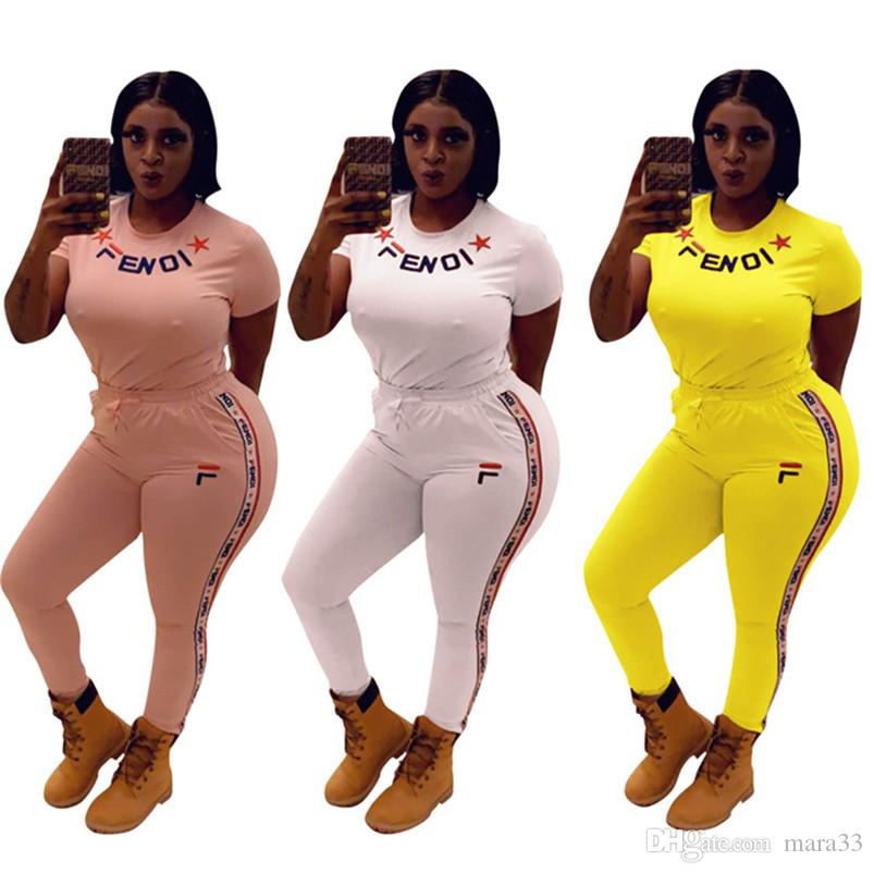 Kadın artı boyutu yaz 2 parça set tasarımcı eşofman spor t-shirt pantolon spor suit kazak tayt kıyafetler tshirt bodysuits 742