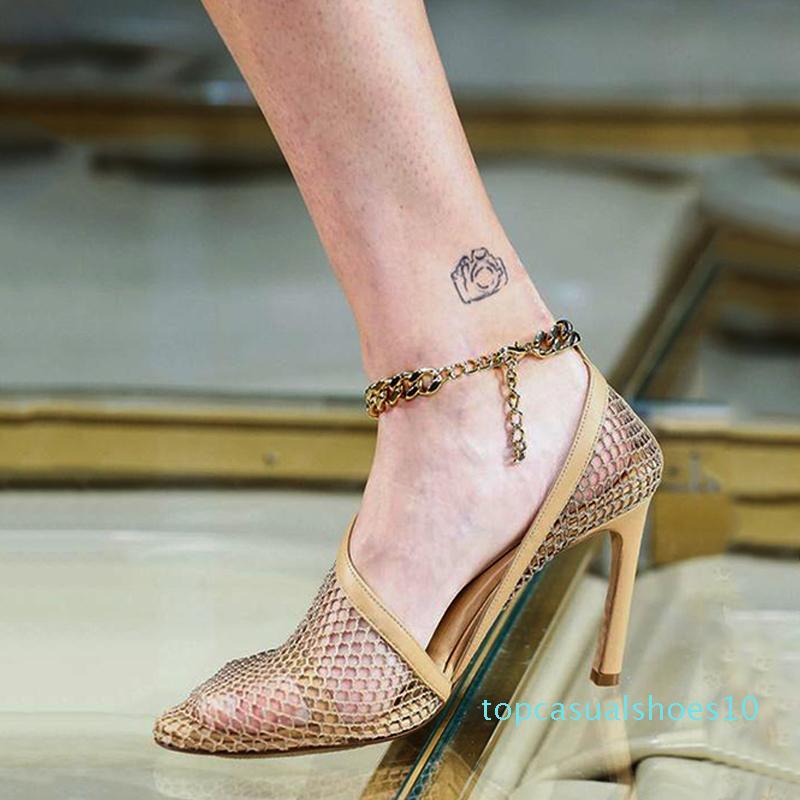 2020 Pista de malla fina tacones altos mujer de las bombas cadena del tobillo del partido atractivo de las señoras de la correa de las sandalias del verano Mujer Zapatos Mujer Zapatos t10 Summers