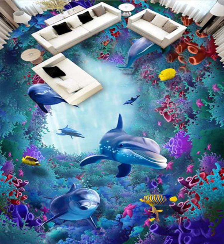 Custom Floor 3D Mural Ocean World Dolphin alga marina Coral baño del dormitorio sala 3D suelo de PVC impermeable autoadhesivo