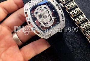 Luxury Men Wristwatches Stainless Steel Sapphire Crystal Diamond Skull Skeleton Automatic Sports Men's Wristwatch Rubber Strap Mans watches