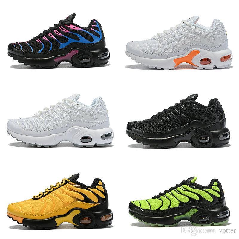 TN Plus Kids Running Shoes Black White