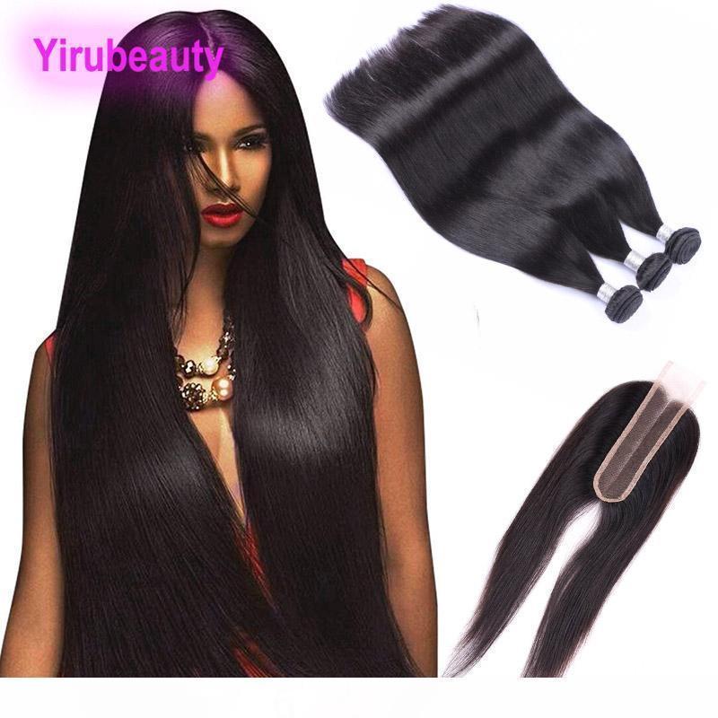 K Malaysian Rohboden Menschliches Haar 9a 3 Bündel mit 2x6-Spitze-Schliessen Gerade Virgin Haar-Verlängerungen mit Lace Closure Baby-Haare-4 Pi