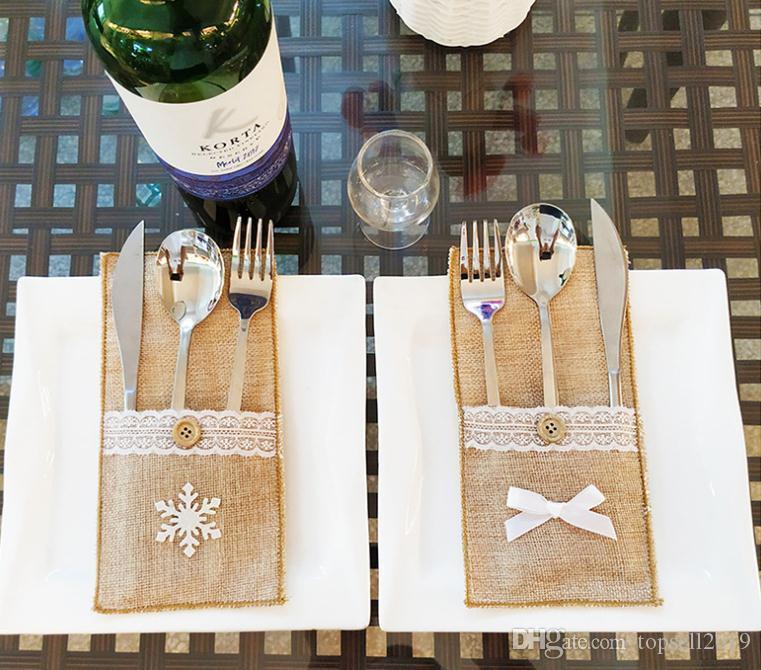 Noel Süslemeleri Çatal Çanta Keten Gereçler Sahipleri Bıçak Çatal Çanta Masa Şeker Çanta Noel Partisi Düğün Malzemeleri SN2784