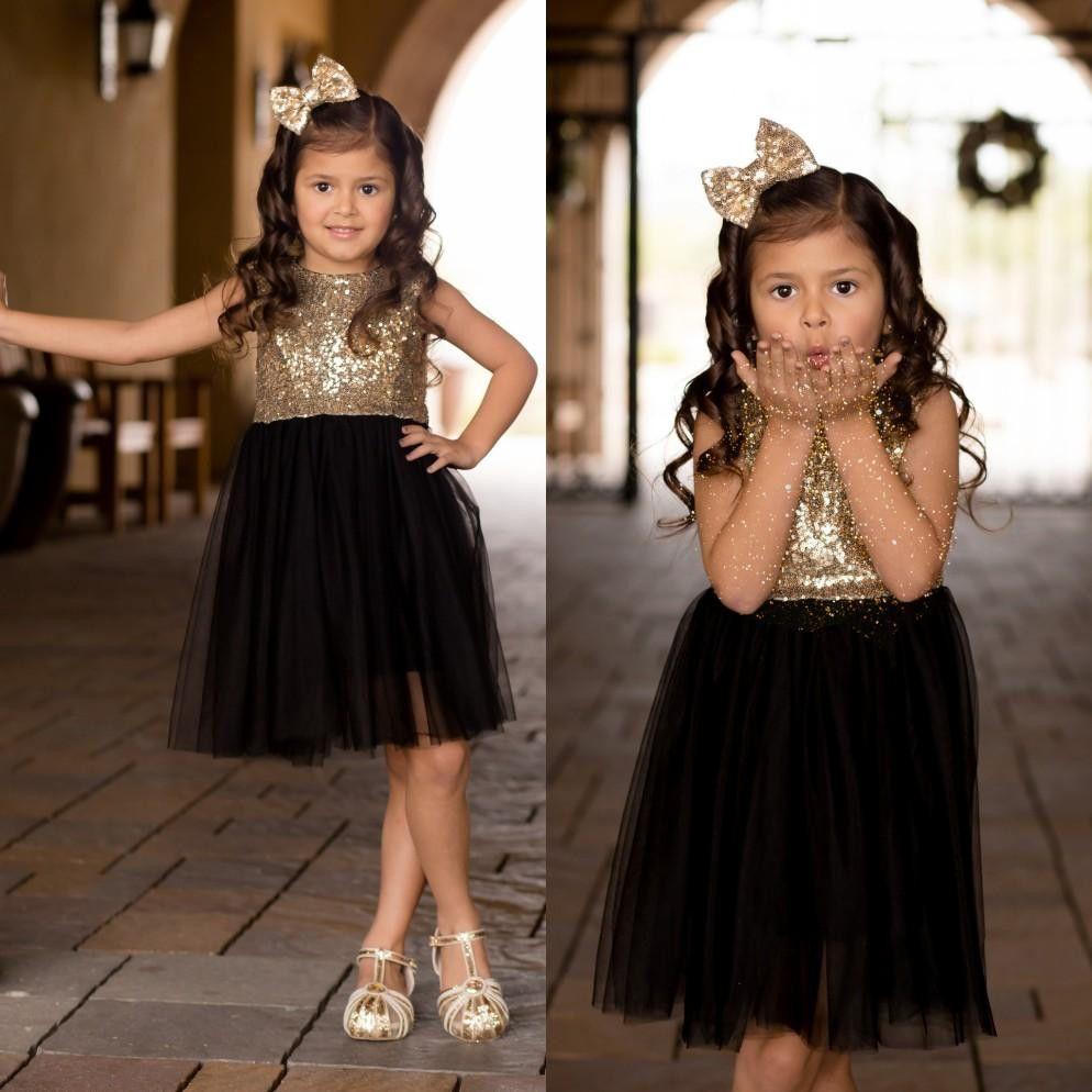 Yeni Çiçek Kız Elbise Vintage Küçük Kızlar Alayı Elbiseler Güzel Prenses Ülke Düğün Parti Altın Sequins Tül