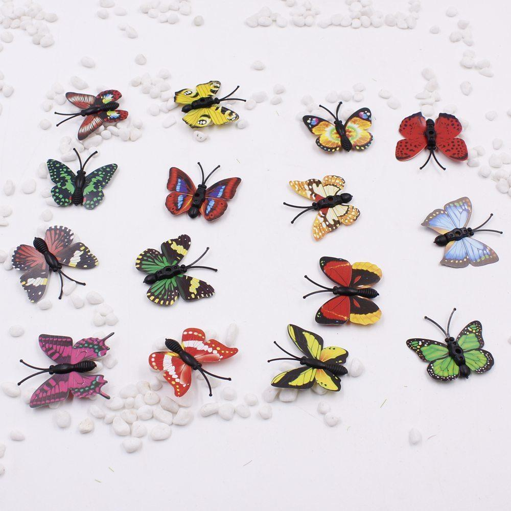 10pcs/lot Plastic 3d Butterfly Handmake Artificial Flower Head Wedding Decoration Diy Wreath Gift Box Scrapbooking Craft Fake Fl