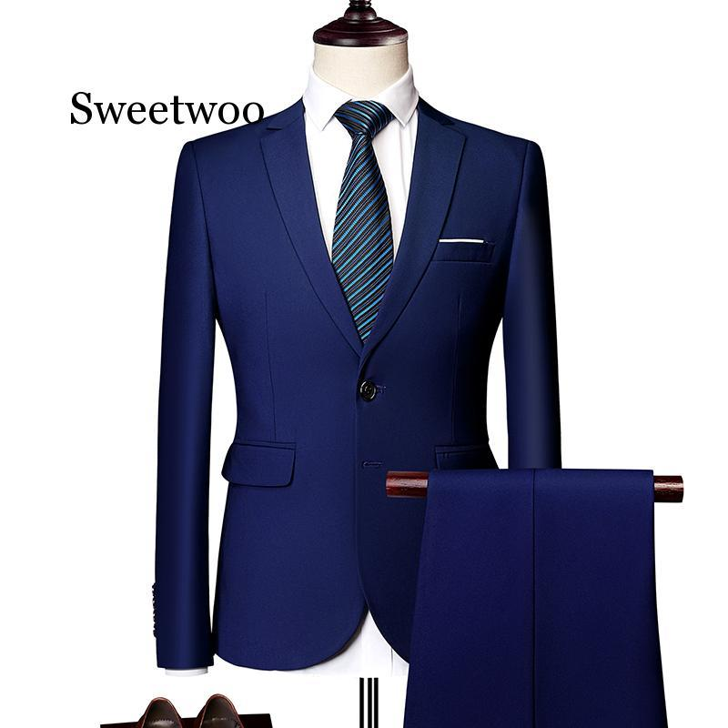 Suit suit male 2020 spring and autumn high-end custom business blazers three-piece / Slim large size multi-color boutique