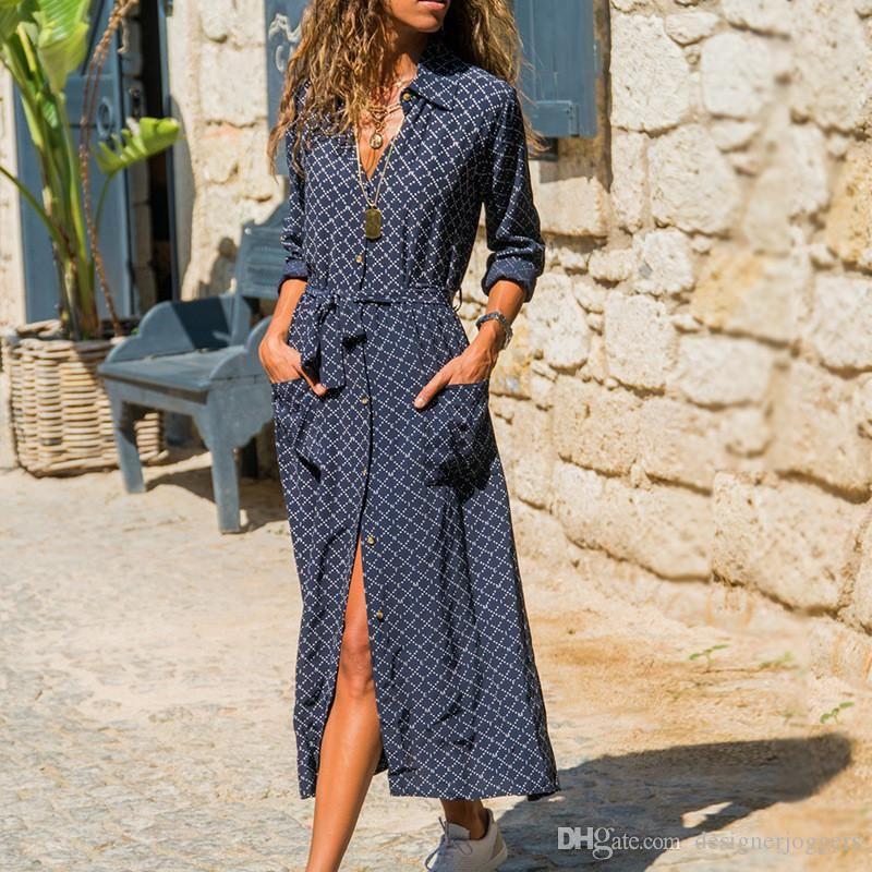 Donne Estate Bohemian shirt Abiti risvolto del collo della stampa digitale femminile Abiti sexy di modo Abbigliamento casual