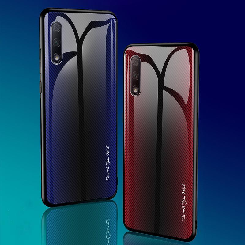 TPU borde suave gradiente de colores de cristal templado de la contraportada para Huawei Honor 9X Pro 10 20 Borde caso de la cubierta de silicona suave Pro Shell