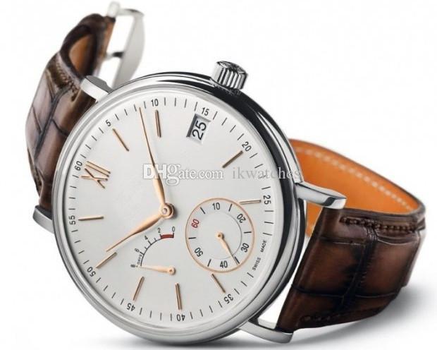 Hot vente mécanique montre automatique style classique homme montre en acier inoxydable montres Transparent Retour Bracelet en cuir montre-bracelet W12