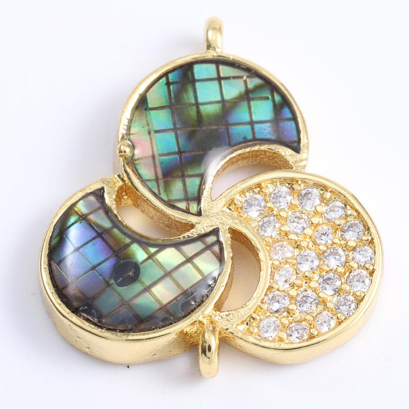 Singreal Abalone Shell Micro Pave Clover Charms Bracelet necklace Choker Pendant connectors for women DIY Jewelry making