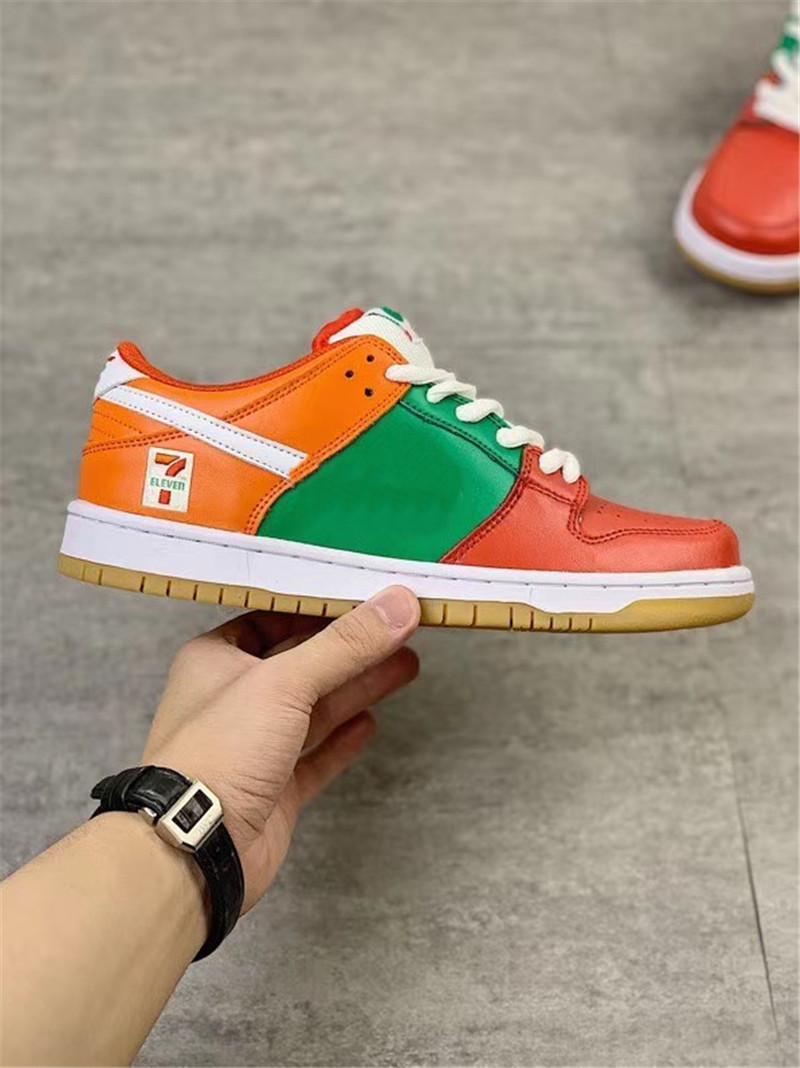 YENİ 2020 Sınırlı 7-Eleven SB Dunk Düşük Yeşil Kırmızı Turuncu Kadınlar Erkekler Kaykay Ayakkabı x Orijinal Kutusu 36-45 ile Spor Sneakers Tasarım Ayakkabılar