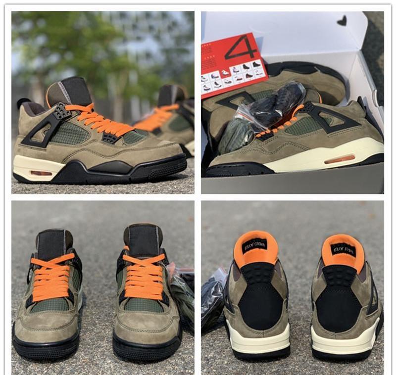 Zapatos 2020 x invicto Travis Scotti baloncesto más nuevos 4s Ejército Verde Suede versión limitada para hombre original deporte atlético zapatillas de deporte