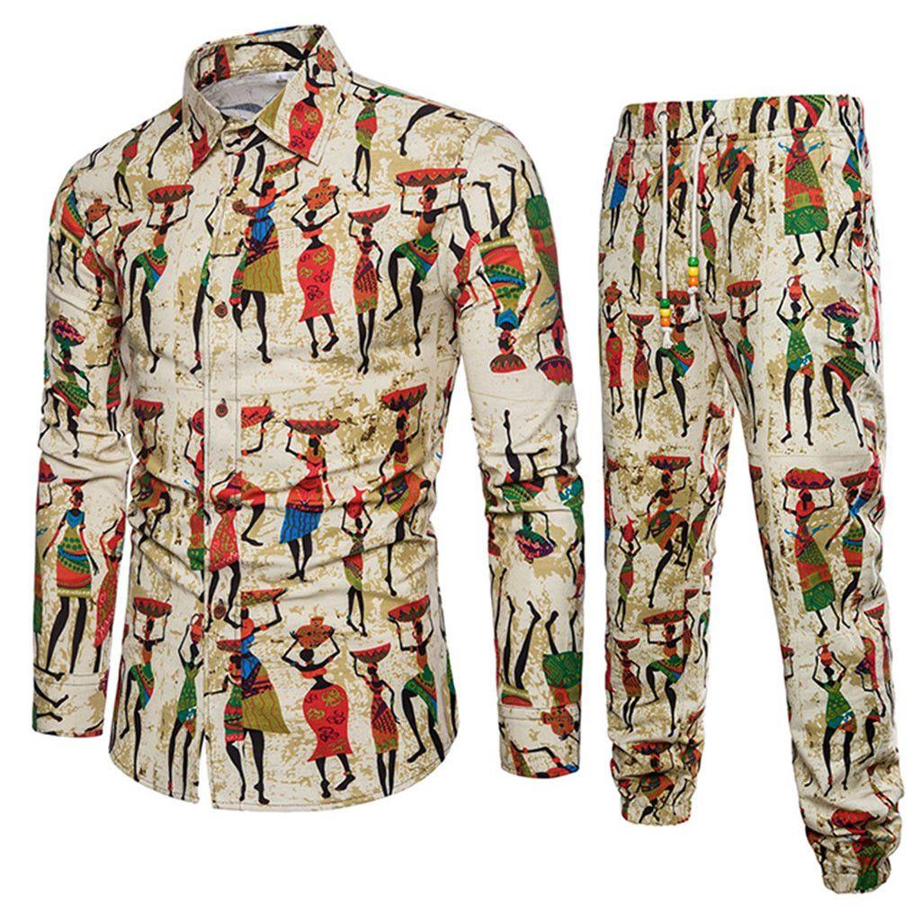 2019 Spring Summer New Style Fashion Floral Print Men's Set Shirt+Pant Casual Shirts Suits Cotton Linen Material Plus Size 5XL D