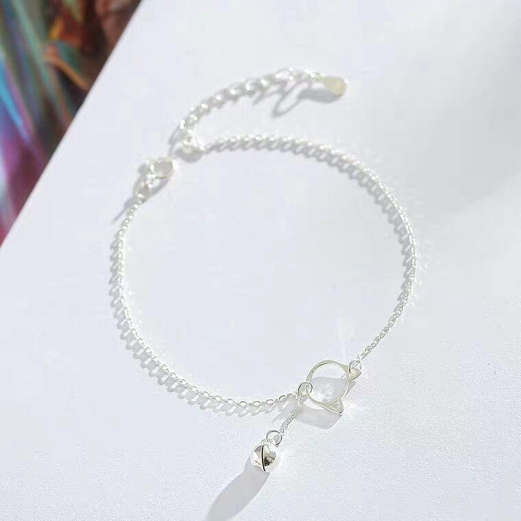 925 pure silver cat fashion bell bracelet female beauti Korean version of simple personality lovely little fresh students boudoir honey gift
