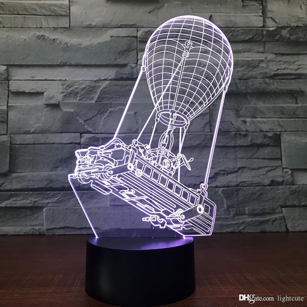 Creative Vision 7 couleurs LED d'éclairage Chambre d'enfant Luminaire 3D Hot Air Balloon Night Light Petit Décor Lampe de table cadeau