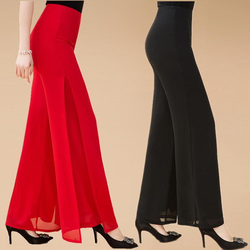 무대 착용 넓은 다리 바지 댄스 바지 고품질 솔리드 쉬폰 더블 데크 롱 여성 바지 크로스 캐주얼