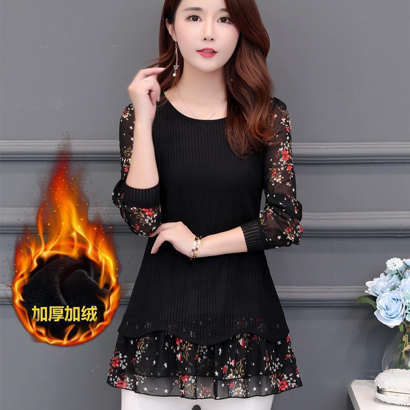 2019 осень новый стиль Большой размер шифон рубашка Плюс размер женской Размер Сыпучие-Fit среднего возраста женщины среднего возраста платье Длинные SLE
