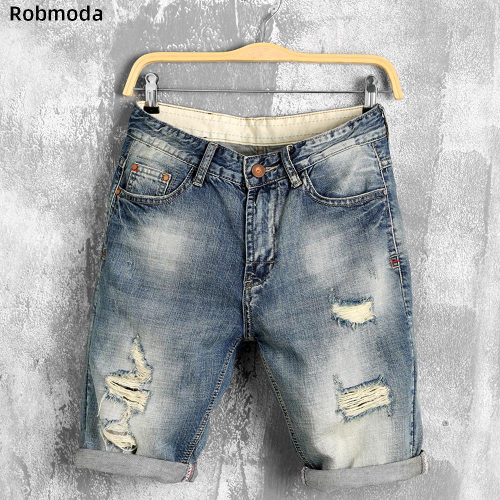 2019 летние джинсовые шорты мужские джинсы мужские джинсовые шорты бермуды скейтборд шаровары мужские бегуна лодыжки рваные волны Hole джинсы Повседневный