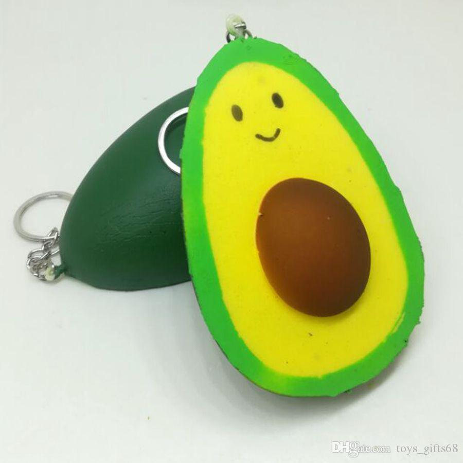 Hot Pu lento simulazione rimbalzo frutta squishy avocado sfogo portachiavi giocattolo cellulare pendente del sacchetto