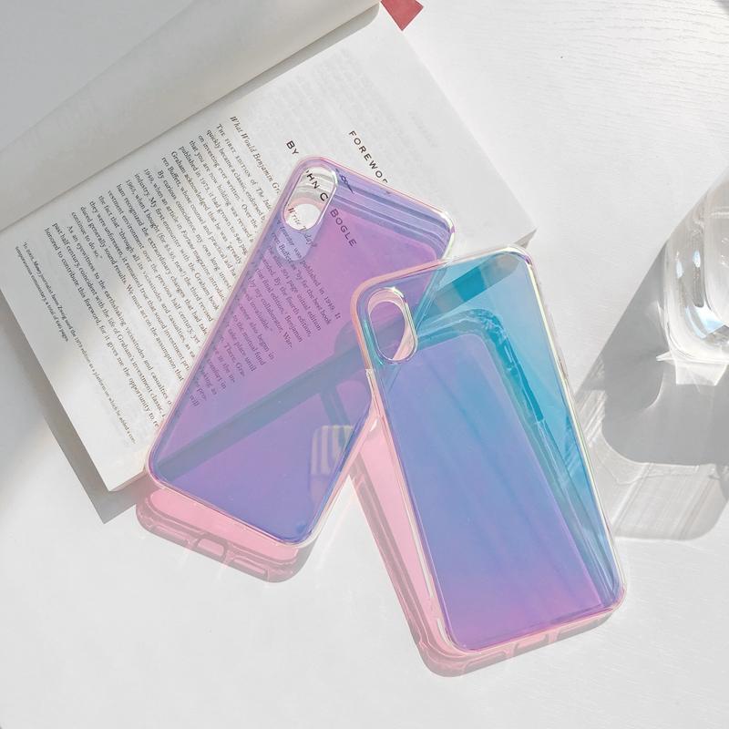 قوس قزح متدرجة اللون التصوير المجسم مرآة شفافة سيليكون لينة حالة TPU للحصول على 6 6S 7 8 زائد 11 برو X XS XR ماكس الغلاف