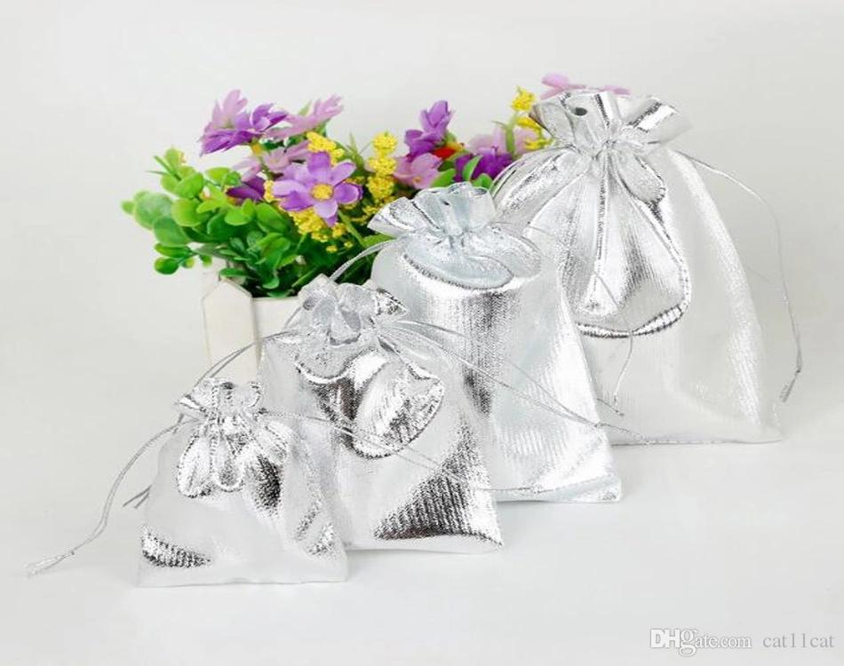 Silver Metallic Color Organza Bag Jewelry Packaging Bag Wedding Favor Pouches & Drawstring Gift Bags