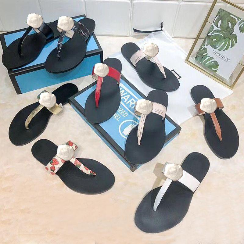 Zapatillas de playa zapatillas de verano moda mujer flip-flops 100% lady lady zapatillas metal zapatos zapatos plana damas zapatillas tamaño grande 35-41-42-45