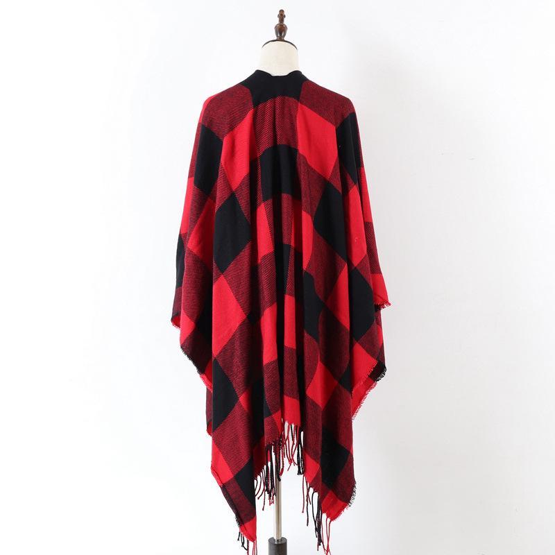 All'ingrosso-autunno e l'inverno delle donne della sciarpa double-sided rosso e nero reticolo frange caldo divisa del capo dello scialle di cachemire sciarpa forchetta