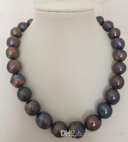 14-15mm Tahitian Baroque Black Green Red Multicolor Pearl Necklace 18 ""