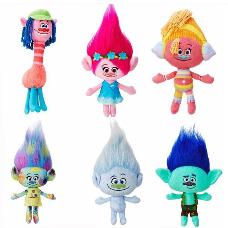 6 styles 23-30cm Movie Trolls Plush Toy Doll For Baby Best Gifts kids toys cartoon Stuffed Animals Z0718