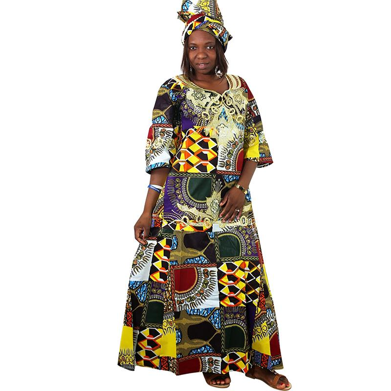 2020 Md African Dresses For Women Ladies Dashiki Wax Dress With Headtie Bazin Riche Traditional Clothes Female 2019 Robe Africaine From Eventswedding 44 78 Dhgate Com
