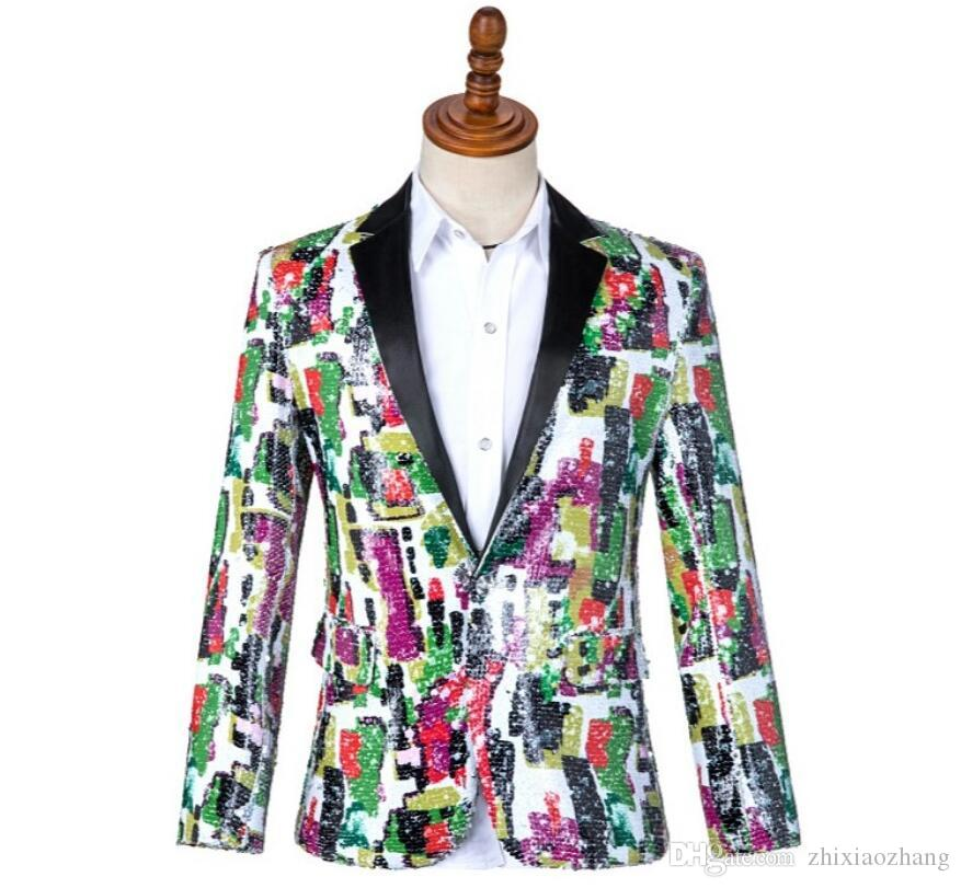 multicolor Sequin personality Blazer men suit mens suits costume singer star style dance stage clothing formal dress
