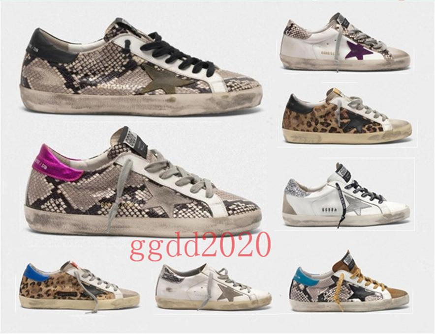 2020 di alta qualità Italia Old Style Sneakers Genuine Leather Villous Derma pattini casuali degli uomini / donne di lusso US4.5-11 Superstar Formato dei pattini