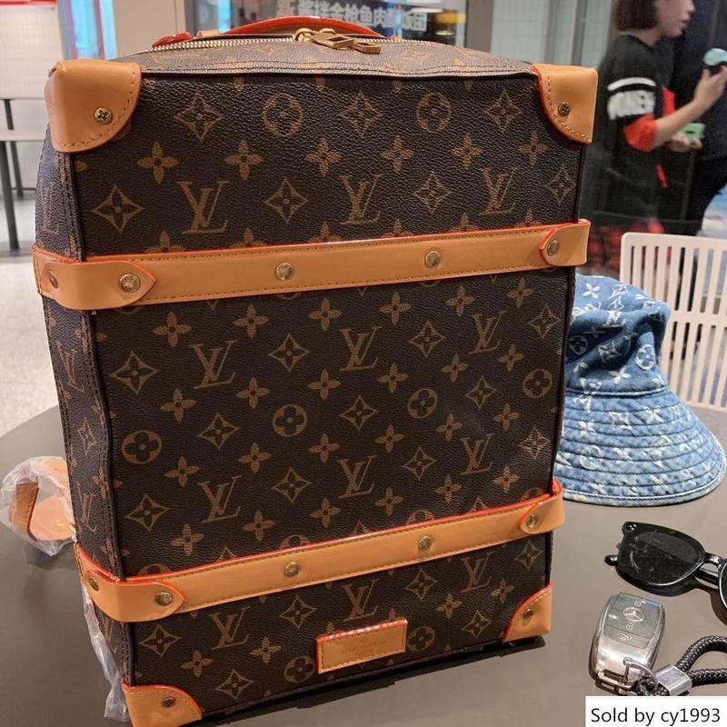 Marcas M44752 Tronco de couro macio Homens Mulheres Mochila Designer Handbag Grande Siz
