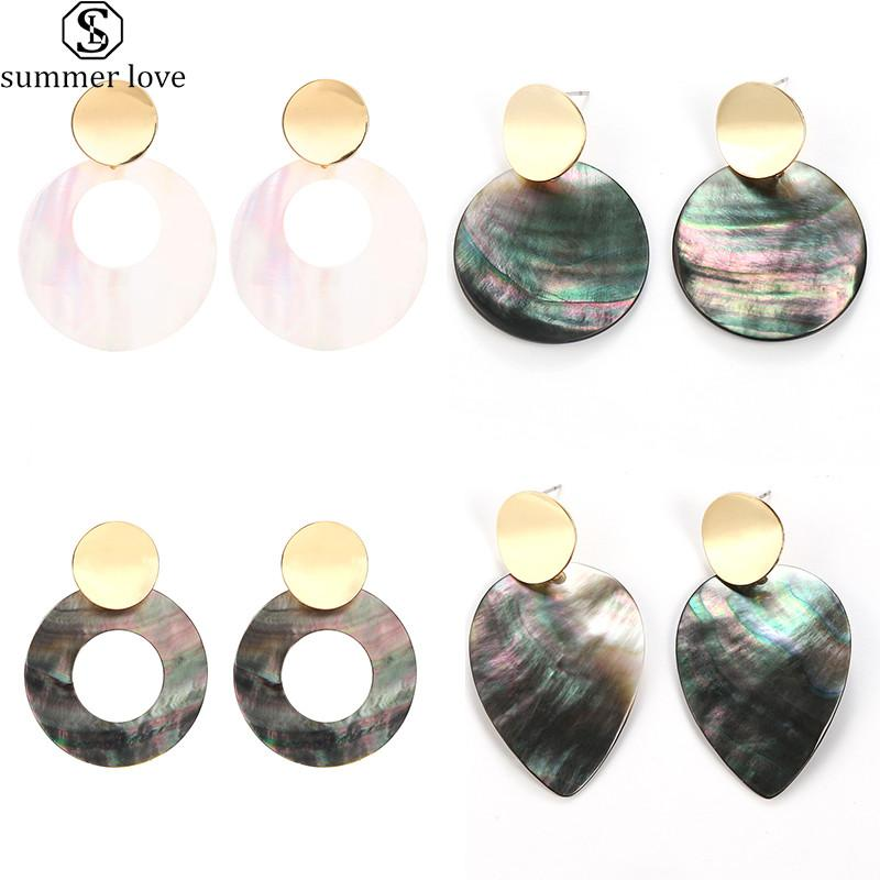 Colorful Natural Shell Round Dangle Earrings For Women Unique Design Shape Statement Fashion Jewelry Multicolor Shell Earrings-Z