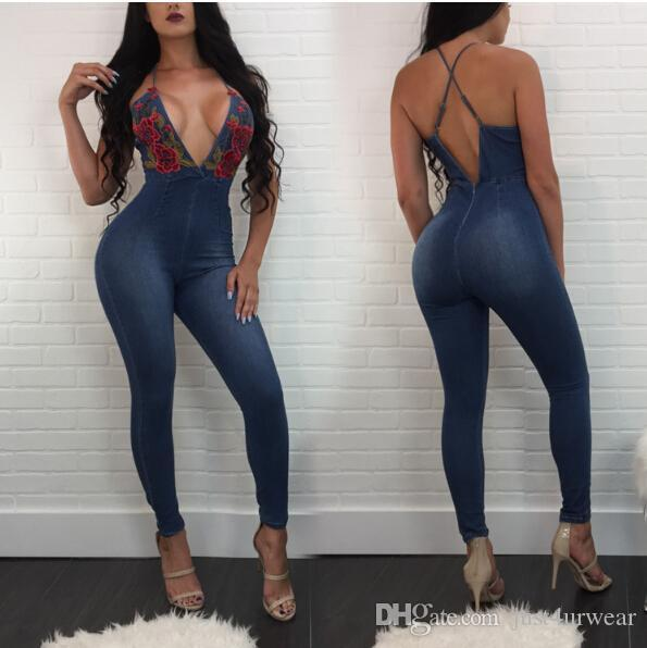 Women Sexy Club Deep V Neck Denim Jumpsuit Street Skinny Spaghetti Strap Jumpsuit Floral Print Denim Pants Women Long Trousers Jeans Outfits