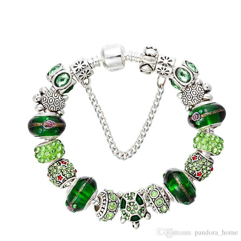 Новый зеленый кристалл браслет из бисера Посеребренная серии Ocean CZ Алмазный Оригинал Box Set Подходит для Pandora DIY браслет из бисера