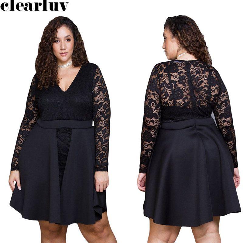 Langer Ärmel Abendkleid Vestidos De Gala T040 2019 elegant plus Größen-Spitze-Abendkleid Kurz Schwarz V-Ausschnitt-Kleid-Frauen Party-Nacht