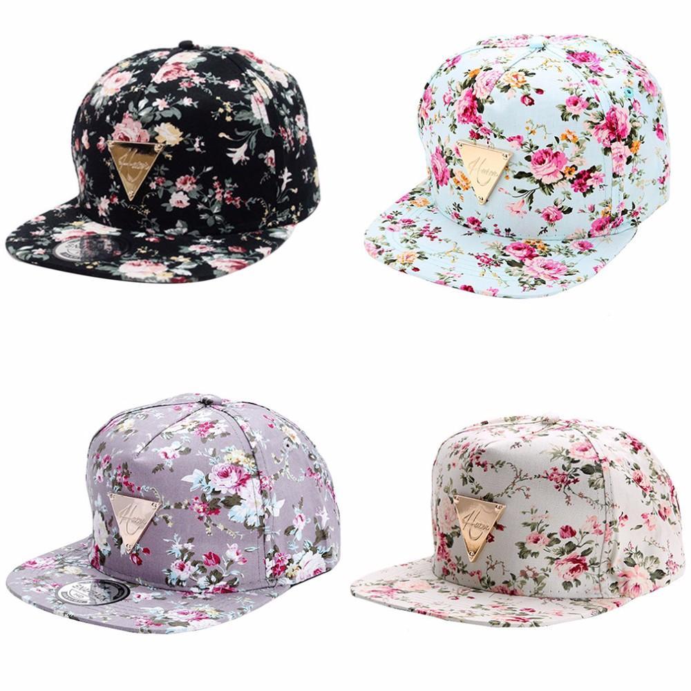 Homens Boné de beisebol Mulheres Hip Hop Caps Snapback Flor Floral Hat Hip-Hop plana ajustável Cap chapéus de sol para o menino Girl Fashion